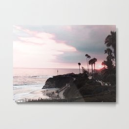 Laguna Beach | LoFi Relaxed Aesthetic Pinkish Sunset Palm Trees Hippie Ocean Horizon Waves Metal Print