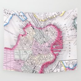 Vintage Map of Downtown Boston (1864) Wall Tapestry