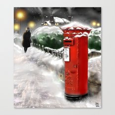 Traditional Christmas Illustration: Red British Post Box in the Snow [Re-Mix] Canvas Print