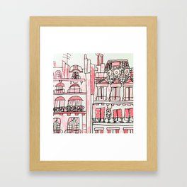 Pink Parisian Architecture Framed Art Print