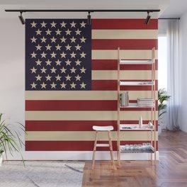 American Flag Vintage Americana Red Navy Blue Beige Wall Mural