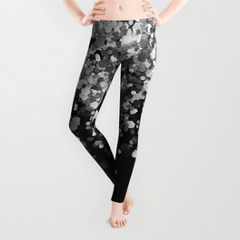 Silver Gray Black Glitter #3 (Faux Glitter - Photography) #shiny #decor #art #society6 Leggings
