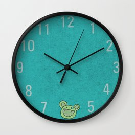Slightly Amused Monsters, V Green Wall Clock