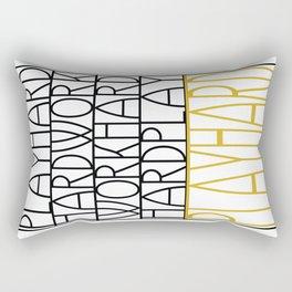 Work Hard, Play Hard - Black, Yellow - Saying, Quote - Typography Rectangular Pillow