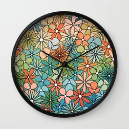 Mid Century Modern Flower Patch // Poppy Red, Coral, Salmon, Green, Blue Wall Clock