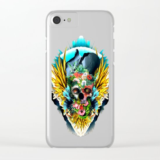 Floral Skull Vivid II Clear iPhone Case