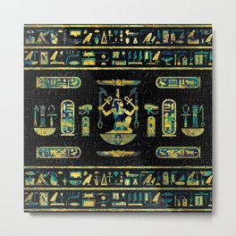 Egyptian  Gold and Blue Marble Ornament Metal Print