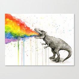 T-Rex Dinosaur Vomits Rainbow Leinwanddruck