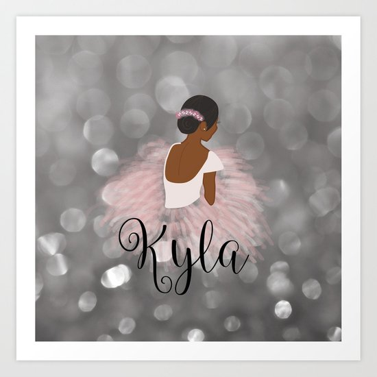 African American Ballerina Dancer Personalized Name KYLA by umeimages