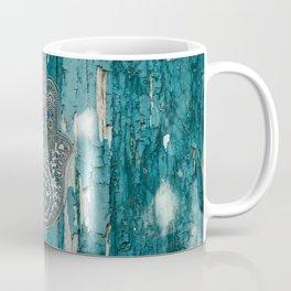 Silver Hamsa Hand On Turquoise Wood Coffee Mug
