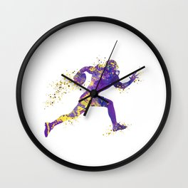 American Football Player Sports Art Football Player Gift Superbowl Gift Colorful Watercolor Art Wall Clock