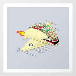 Taco Fighter Jet Art Print
