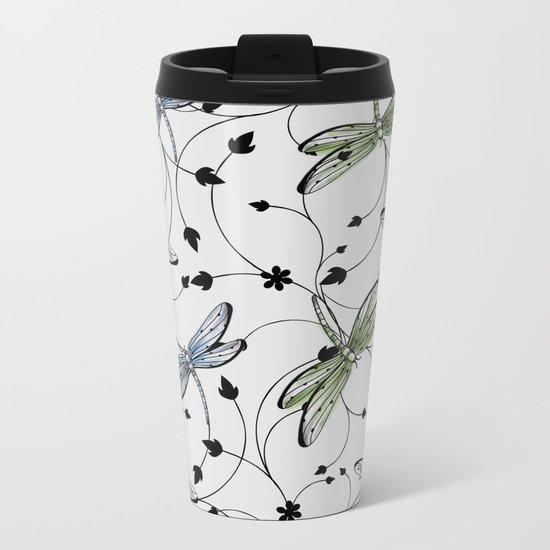 Dragonflies in the garden Metal Travel Mug