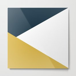 Jag: Minimalist Angled Color Block in Light Mustard, Navy Blue, and White Metal Print
