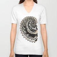 fibonacci V-neck T-shirts featuring Fibonacci Swirl  by Vixxen
