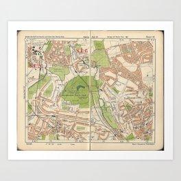 Bacon's Pocket Atlas of London (1921) - 41 Beckenham, Southend, Plaistow, Bromley Art Print