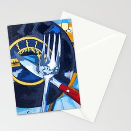Eat It for Breakfast, Abstract Vinyl Music Record Fork Knife Painting Stationery Cards