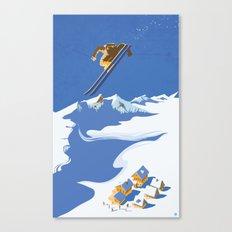 Retro Sky Skier Canvas Print