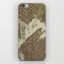 Vintage Map of Norfolk and Portsmouth VA (1873) iPhone Skin