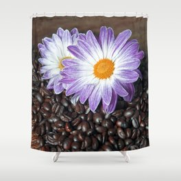 COFFEE with VIOLET DAISY Shower Curtain
