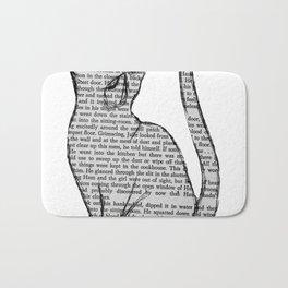 Cat reading itself cute book sticker Bath Mat