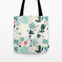 oriental Tote Bags featuring Oriental Flora by Azulblau