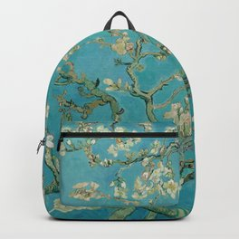 Almond Blossoms Vincent van Gogh Blue Floral Backpack