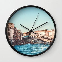 Italy Photography - Rialto In The Evening Wall Clock
