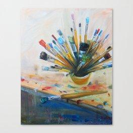 Oil studio tools Canvas Print