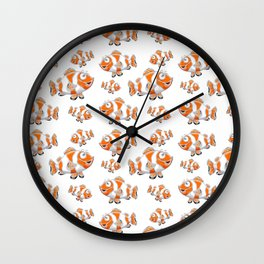 Happy Orange Fish Wall Clock