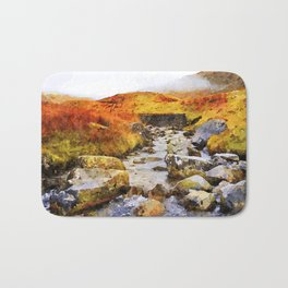 Brook at Honister Pass, Buttermere, Lake District, England. Watercolour Painting. Bath Mat
