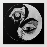 ying yang Canvas Prints featuring ying yang by ivette mancilla