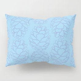 Rustic Pine Cone Illustrated Print in Blue and Purple Pillow Sham