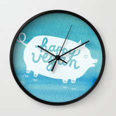 Happy Vegan Wall Clock