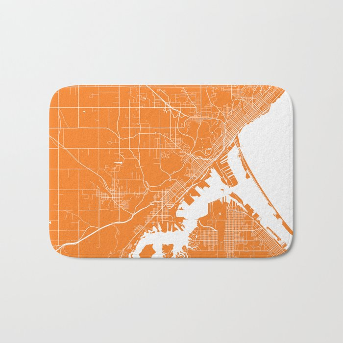 Duluth map orange Bath Mat