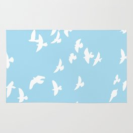 Happy Birds Aqua Rug
