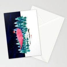 Whimsical Whale, Fox and steam train Stationery Cards