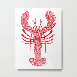 Tribal Maine Lobster on White Metal Print