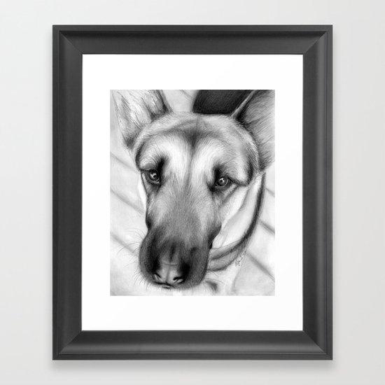 Dog Drawing German Shepherd Framed Art Print