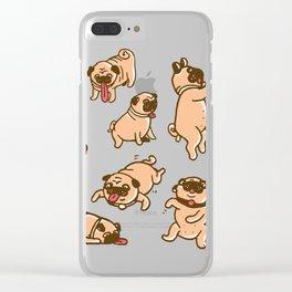 I love pugs Clear iPhone Case