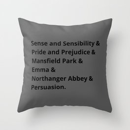 The Jane Austen's Novels I Throw Pillow