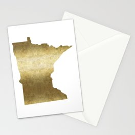minnesota gold foil state map Stationery Cards