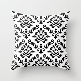 Damask Baroque Pattern Black on White Throw Pillow