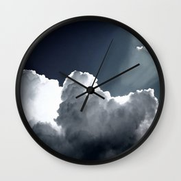 Cloud Photography Blue & White Inspirational Print Wall Clock