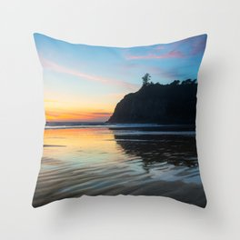 Ocean Dreams - Sunset Silhouette Along Ruby Beach in Washington Throw Pillow