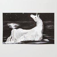 the last unicorn Area & Throw Rugs featuring The Last Unicorn by Alexandra Sutherland