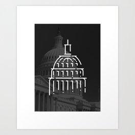 Captiol Building DC, black and white photograph Art Print