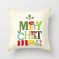 merry christmas Throw Pillows featuring Merry Christmas! by Noonday Design