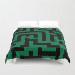 Black and Cadmium Green Labyrinth Duvet Cover