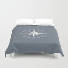 Compass in White on Slate Grey color Duvet Cover
